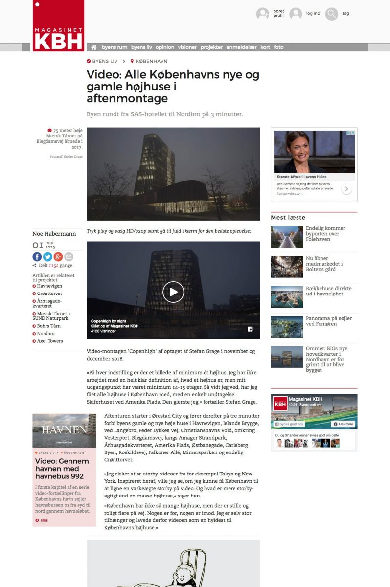 """Screendump of Magasinet KBH - the story about the video """"Copenhigh"""" by Stefan Grage"""