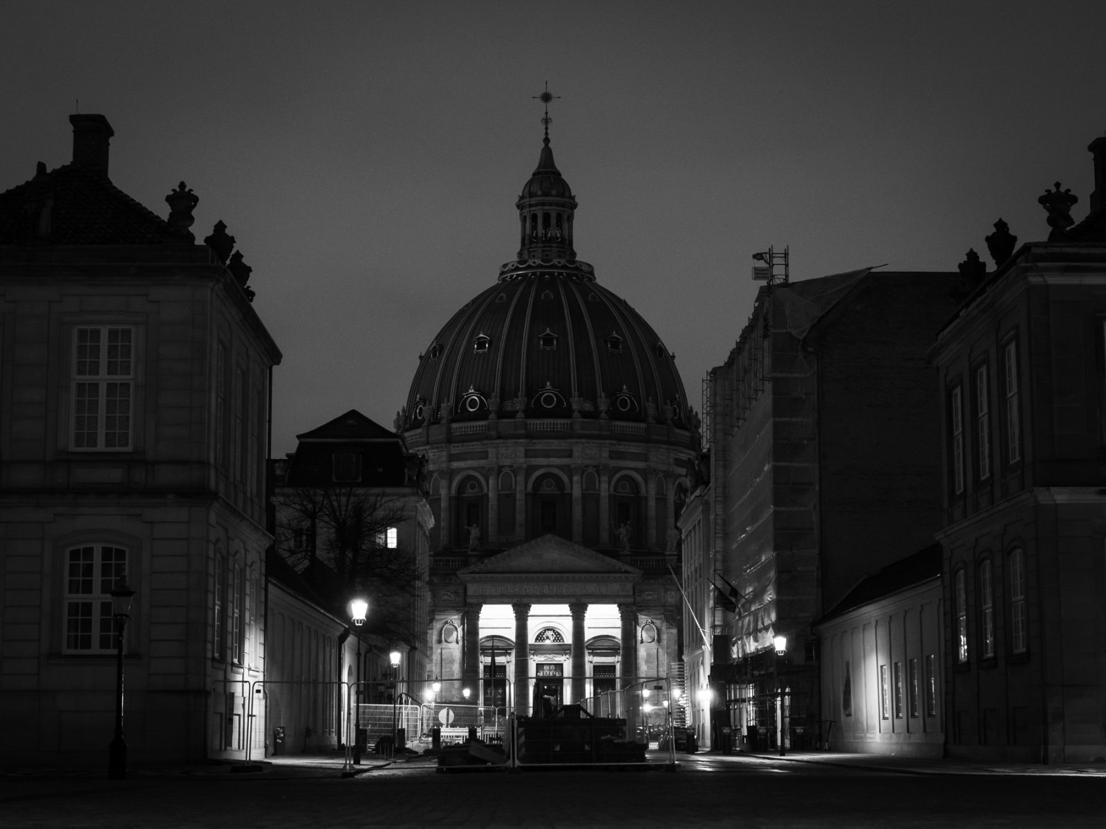 The Marble Church (Marmorkirken/Frederiks Kirke) at night