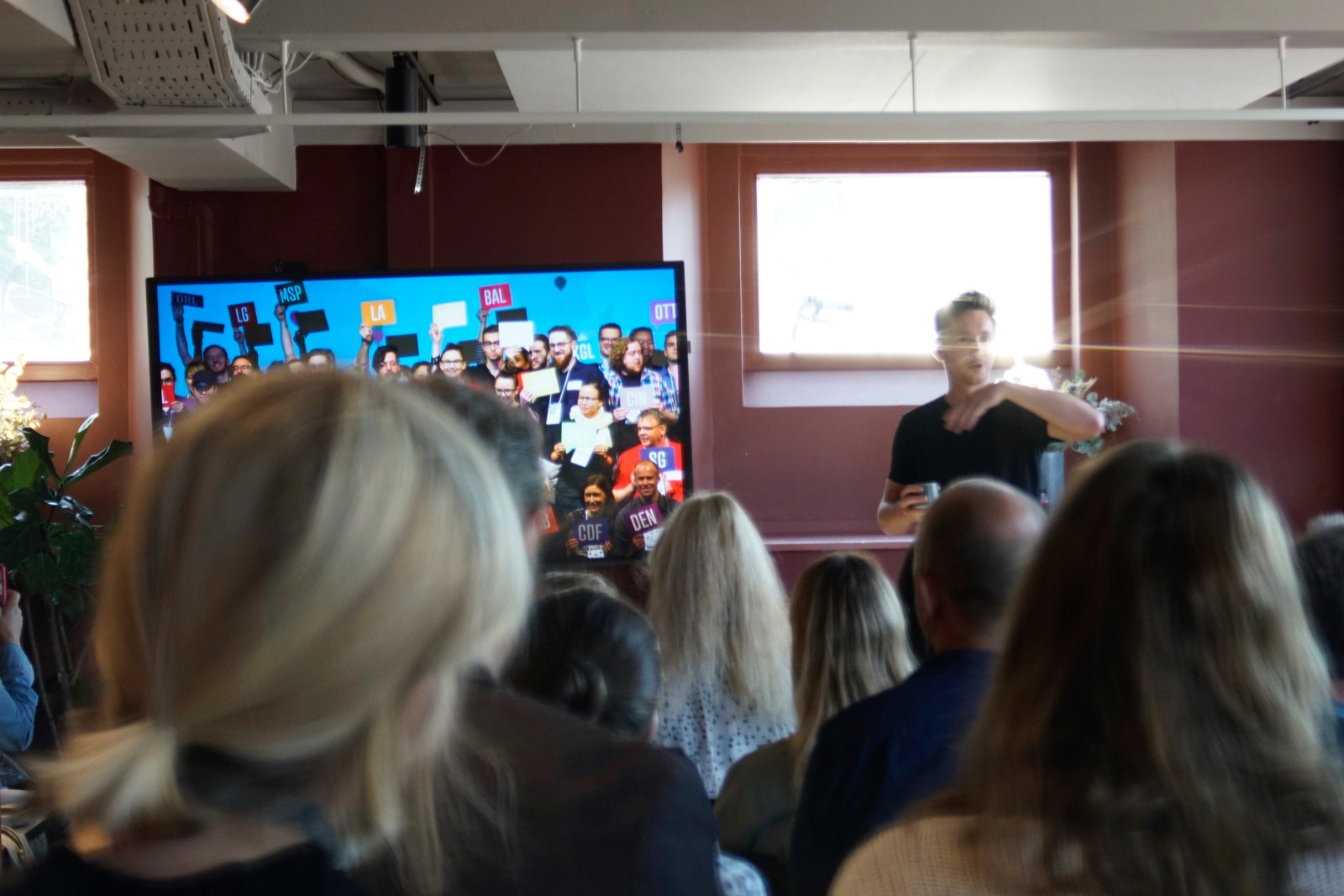 Event photography: Mikkel presents the speaker - shot with Lomography Neptune