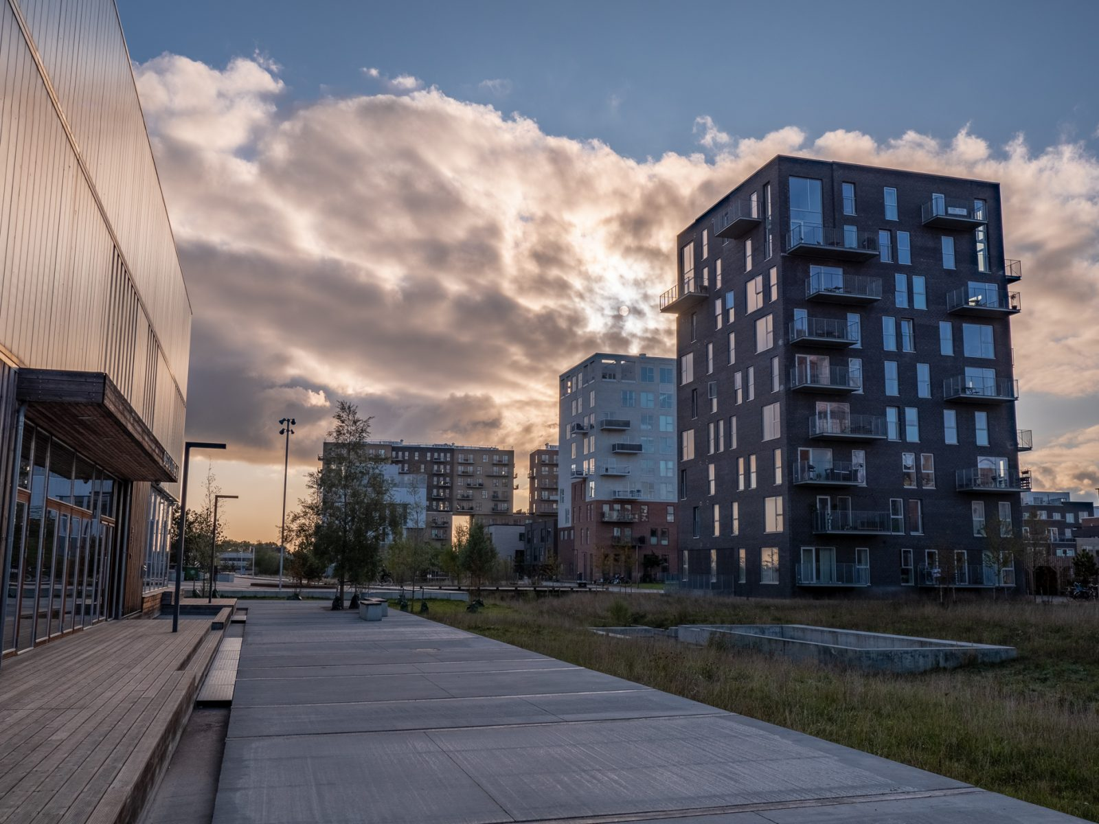 The Royal Arena neighborhood in Ørestad, fall 2019, by Ørestad based photographer Stefan Grage