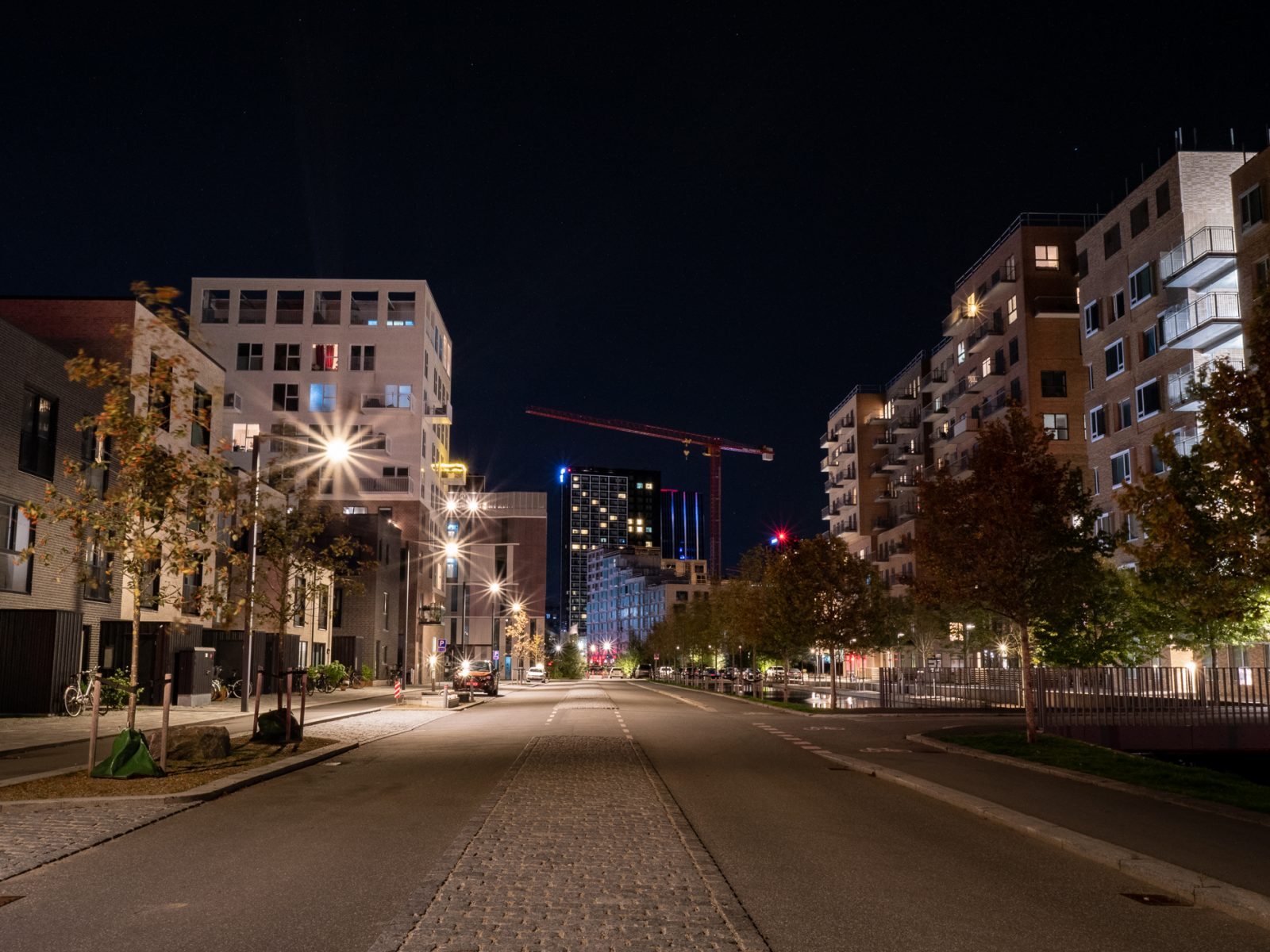 The Royal Arena neighborhood at night in Ørestad, fall 2019, by Ørestad based photographer Stefan Grage