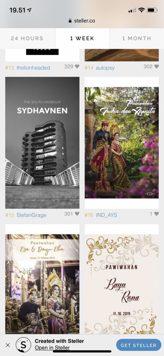 Sydhavnen on Steller - no. 15 on the weekly chart