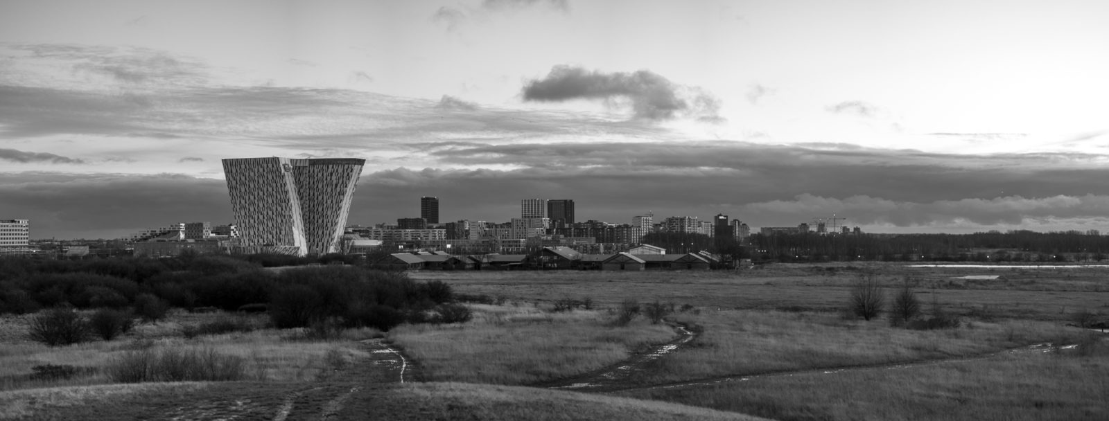 Panorama of Ørestad, from the view point on Amager Fælled