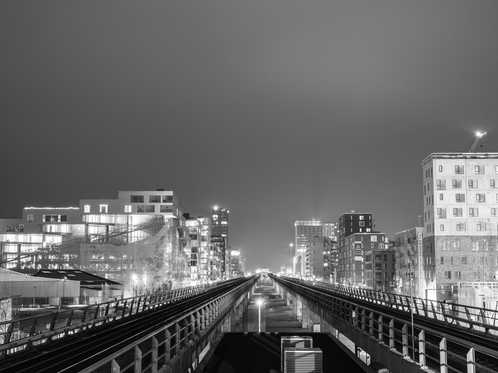 View of Ørestad city and the Metro line