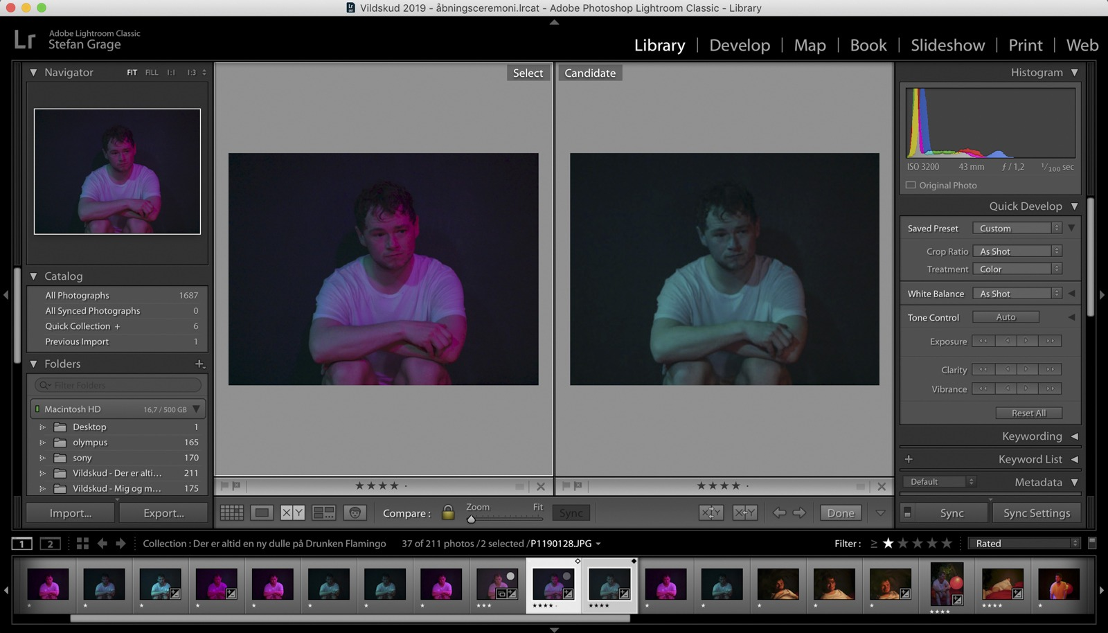 Lightroom screendump: The two chosen images for the GIF-animationen